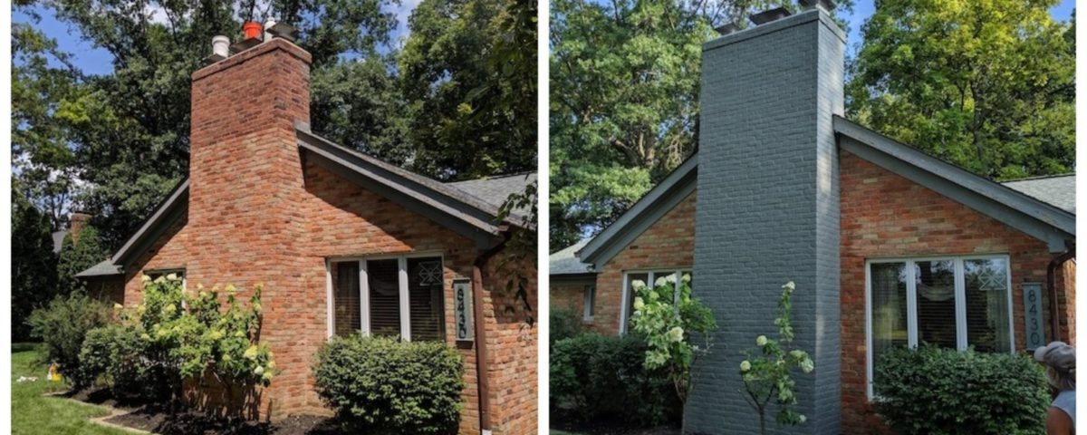 Painted Chimney Before and After